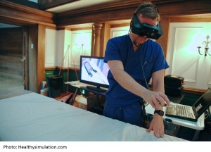 A surgeon is using virtual reality medical simulation